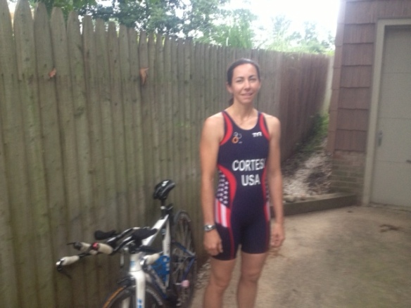 Jen getting ready for  2013 ITU World Duathlon Championships