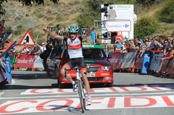 Chris Horner winning stage 10 of the 2013 Vuelta!  Photo: Fotoreporter Sirotti  http://www.podiumcafe.com/2013/9/2/4686184/chris-horner-takes-stage-10-and-the-race-lead