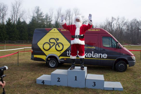 "Scud ""winning"" as Santa at the Capital Cross Race in 2012."